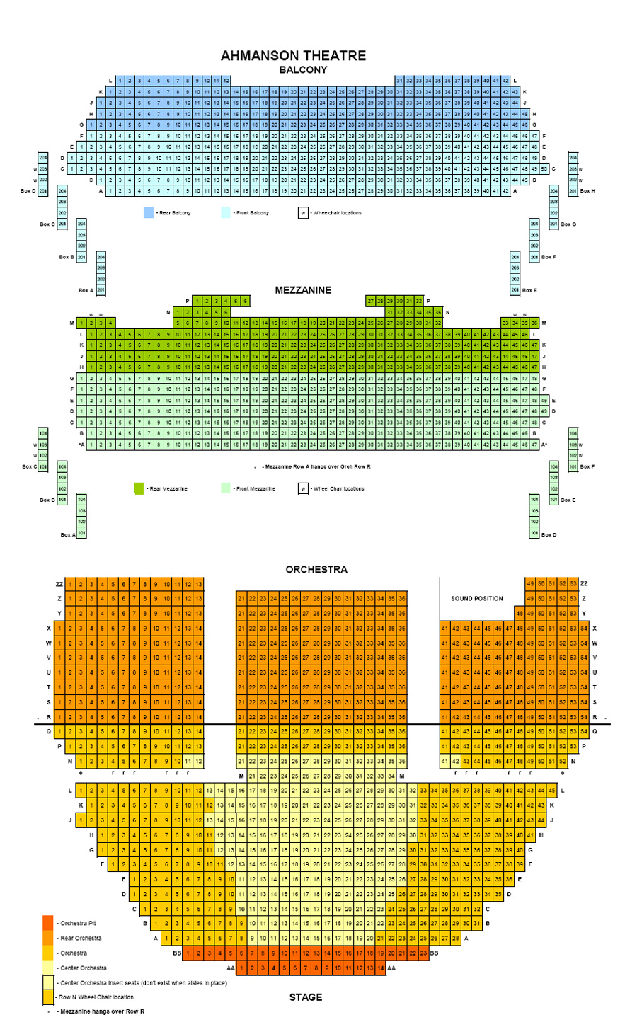 Ahmanson Theatre Seating Chart