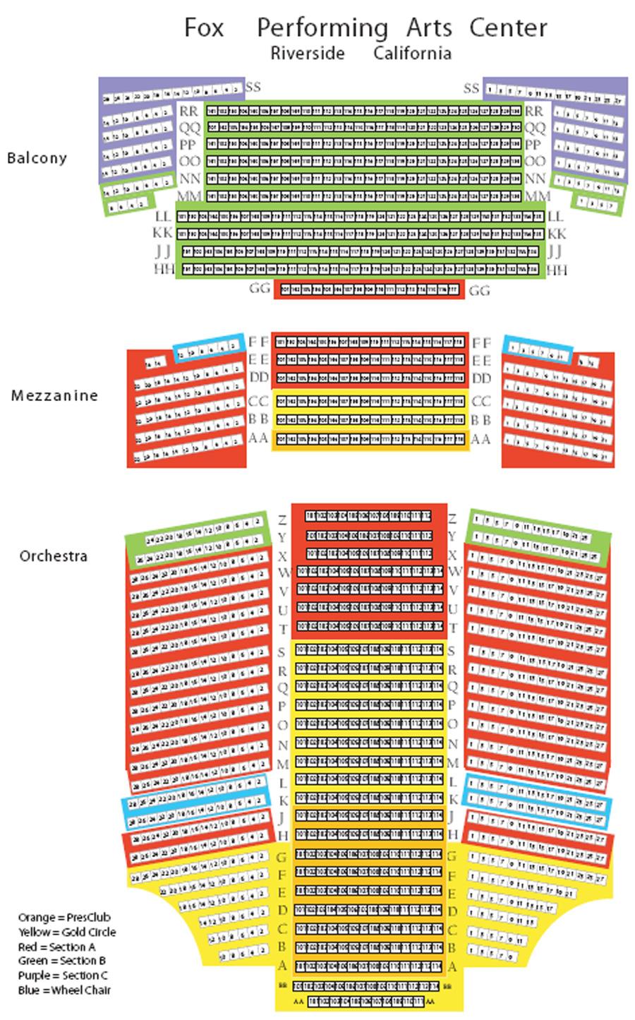 Riverside Theater Seating Plan